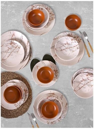 Keramika Keramika Kahverengi Mermer Yemek Takımı24 Parça 6 Kişilik Renkli